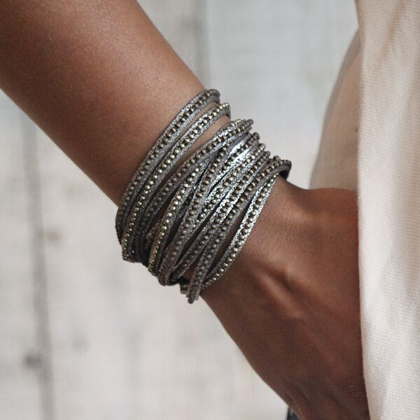 Beads Row Wrap Bracelet In Brown Shimmer by Presh