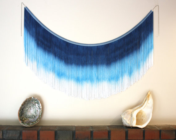 Blue Ombre Fringe Hippie Tapestry