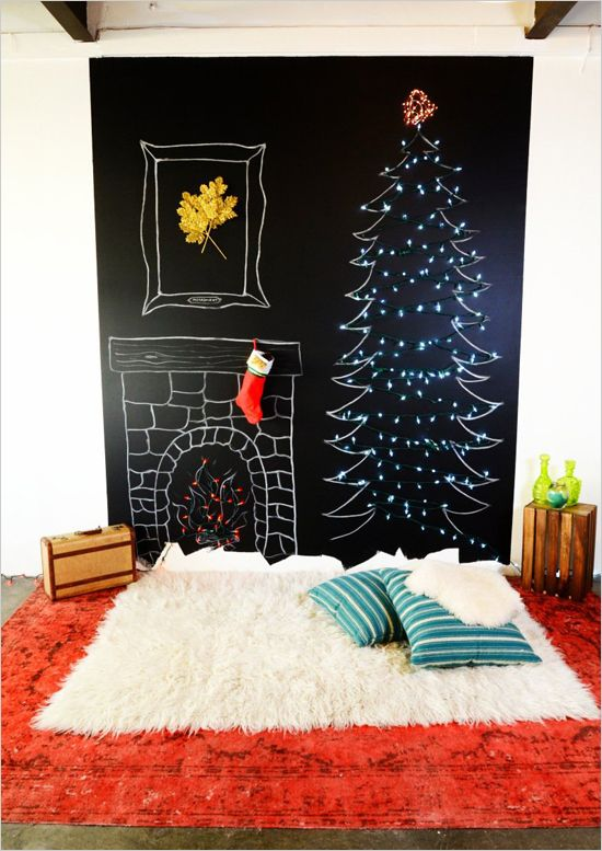 Chalk Wall Christmas Tree