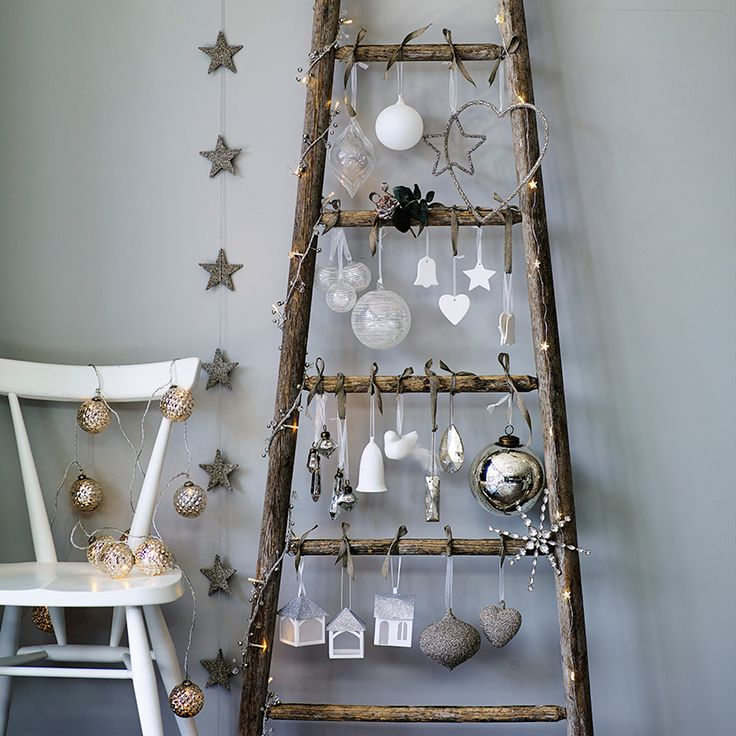 Lean to ladder christmas tree