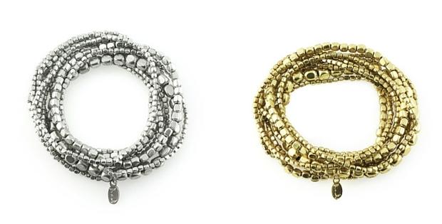 Liquid Bead Bracelet Set In Silver Or Gold by Presh