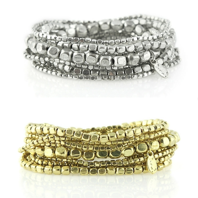 Liquid Bead Stretch Bracelet sets in silver and gold by Presh