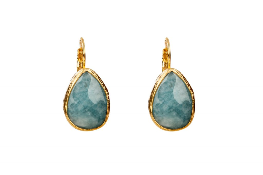 mantra teardrop earrings with moss agate presh
