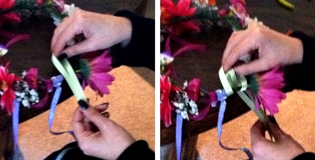 Attaching Ribbon To A Flower Crown