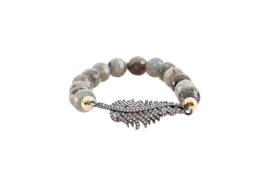 feather and gemstone bracelet by Presh