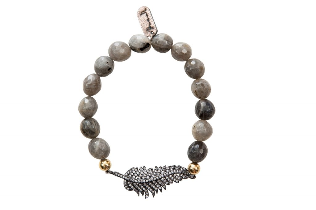 feather charm and gemstone bracelet by Presh