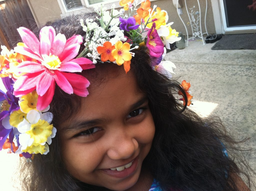 my niece wearing the flower crown