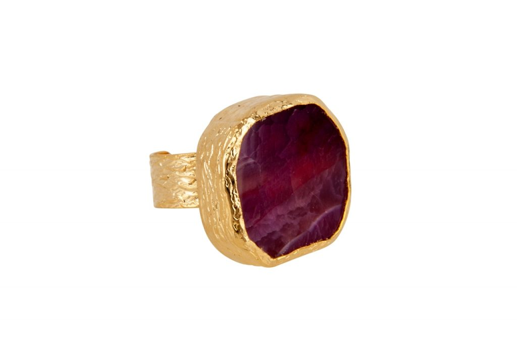 Bold raspberry agate ring by Presh