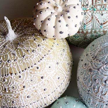 white henna pumpkins