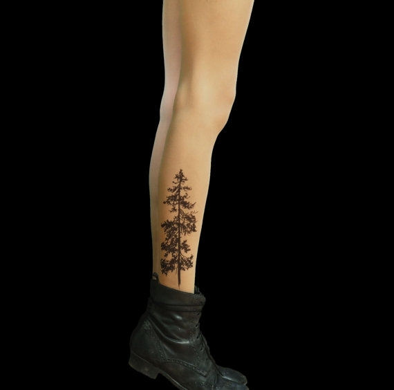 pine tree tattoo tights