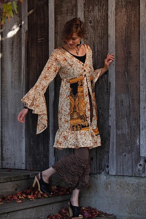 recycled silk sari short gypsy jacket