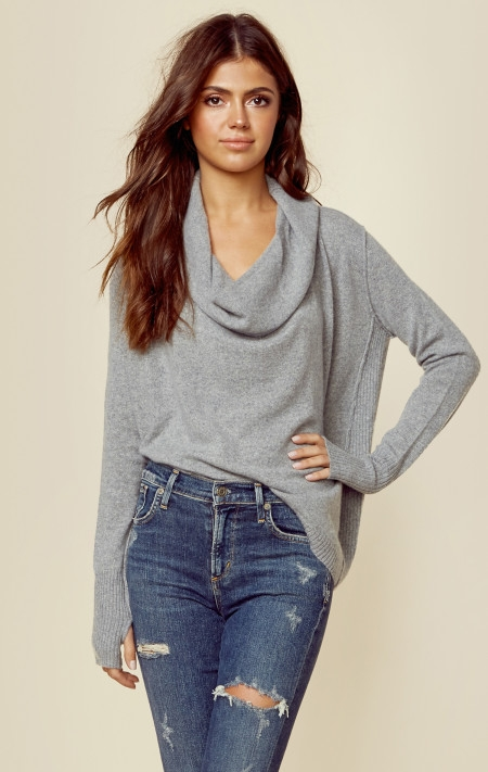 cahsmere drape neck sweater
