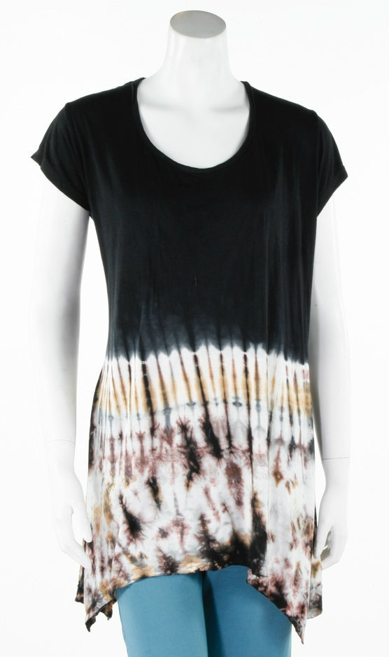 vicose tie dyed angle cut top