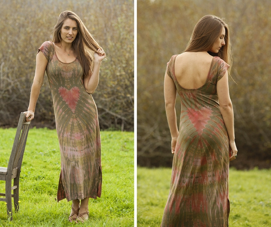 Heart Tie Dye Scoop Neck Maxi by Jayli