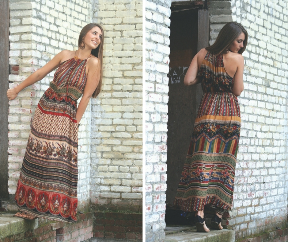 Indian Print Drawstring Maxi By Jayli