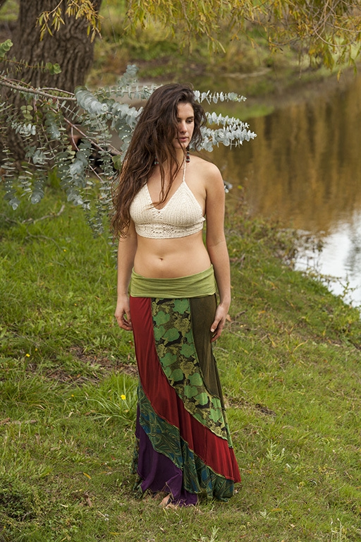 patchwork maxi skirt olive